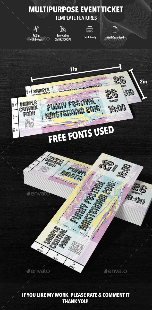 292 best Ticket images on Pinterest Event tickets, Font logo and - printing tickets for events free