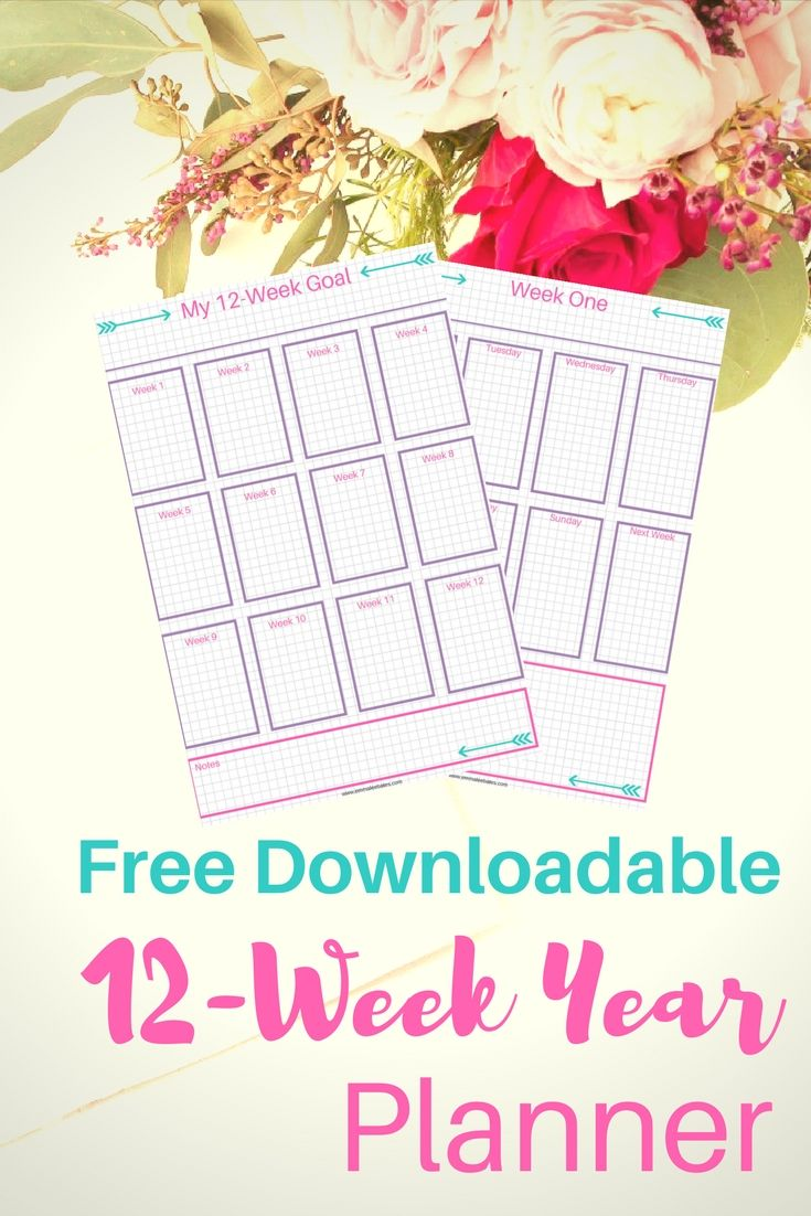 Looking to keep track of your 12-Week Year goals? Grab this free printable  planner! This bullet journal printable has a page for listing our your 12- week ...