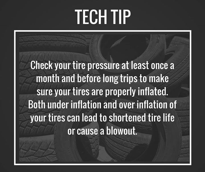 Make it a habit to check your tire pressure at least once a month. #TipTuesday
