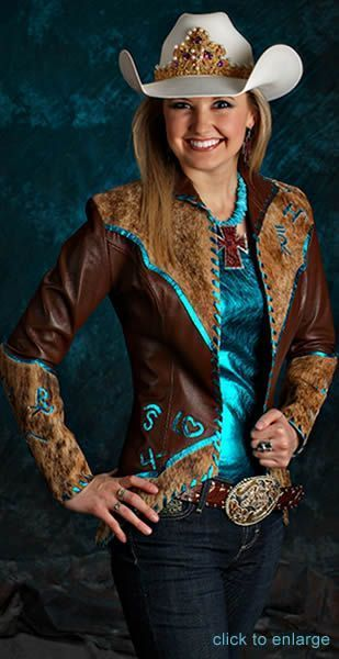 Amy Wilson, Miss Rodeo America 2008 wears a brown lamskin jacket over a turquoise metallic camisole