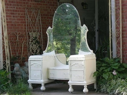 Exquisite Chic Old VANITY Dresser & Mirror by RedBarnEstates…loads of beautiful examples of Vanities!