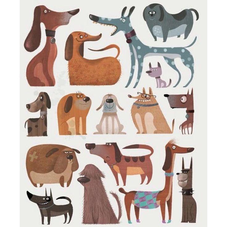 """""""Feliz Día Nacional del Perro! ❤️ Ilustración de Gerald Guerlais  #PerroFeliz #chachayelgalgo #diadelperro #dianacionaldelperro #amomiperro #amorperruno…"""""""