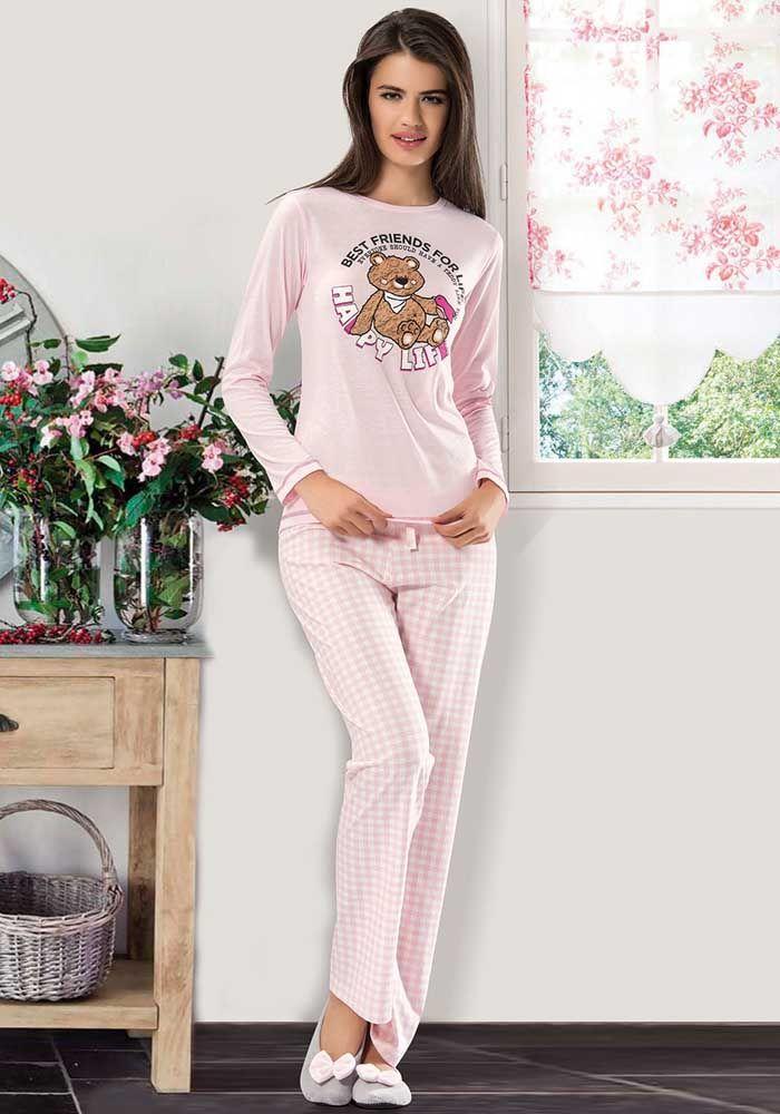 NBB 6924 Uzun Kollu Ekose Desenli Pijama Takımı