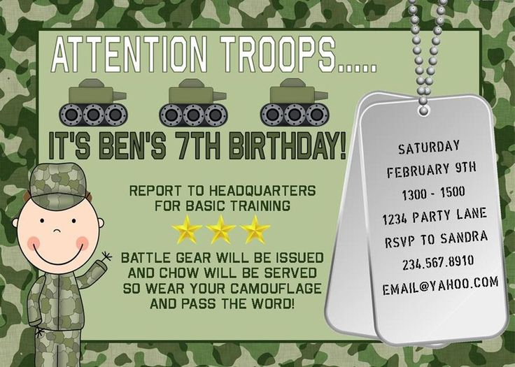 Convite Festa Infantil de Exército