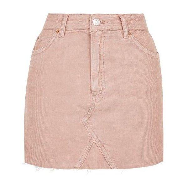 Topshop Moto Cord High Waist Skirt ($39) ❤ liked on Polyvore featuring skirts, bottoms, topshop, saias, pink skirt, cowgirl skirt, pink mini skirt, cotton mini skirt and pocket skirt