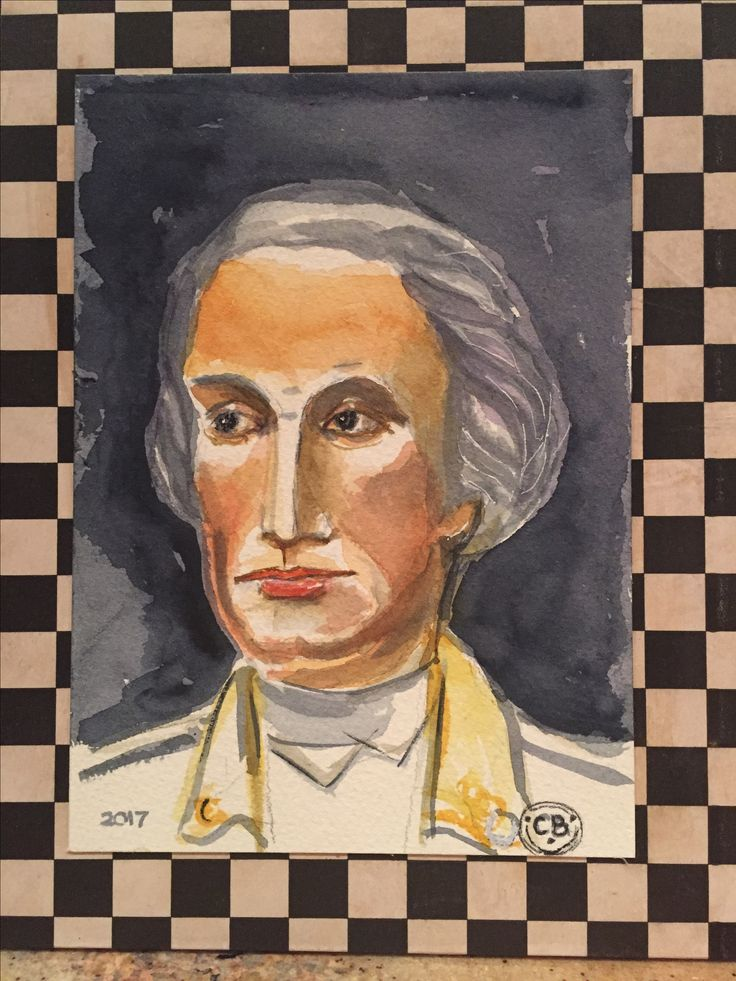 General George Washington-Watercolor and frame by Christine After a visit over Christmas vacation at Mount Vernon Estate in Virginia