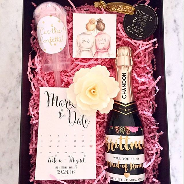 "Check out these gorgeous bridesmaid proposal boxes one of our customers made! We love how she included our ""Mady"" wine label You ladies are so talented! #digibuddha #winelabel #willyoubemybridesmaid"