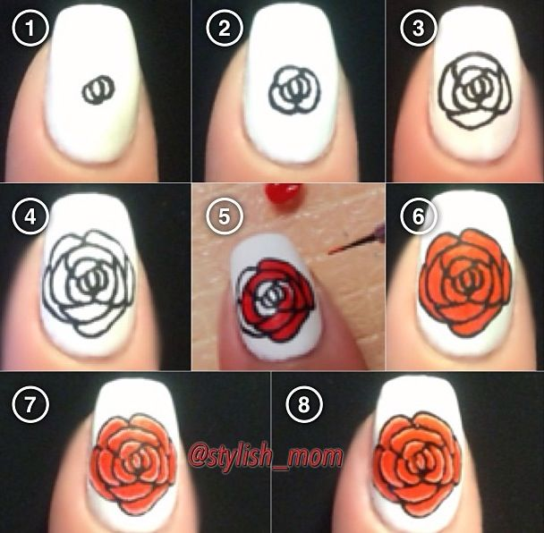 Lots of roses on manis, this pin is nice because it actually shows HOW to do the rose. not just a pic of the finished product.
