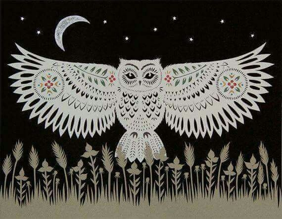Owl landing cut paper art print by ruralpearl on etsy
