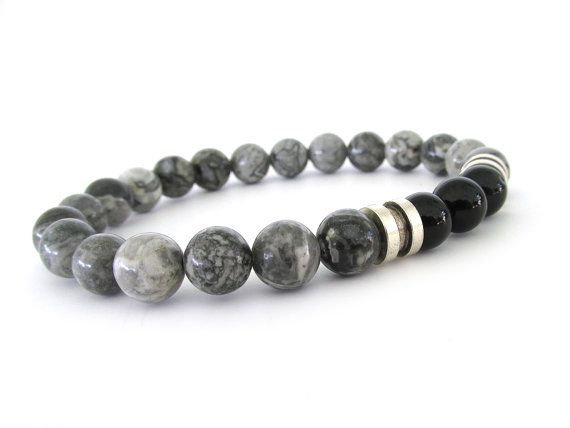 Gray Jasper Men S Bracelet Bead Jewelry Stretch Bracelets For M2830 Wanted Pinterest