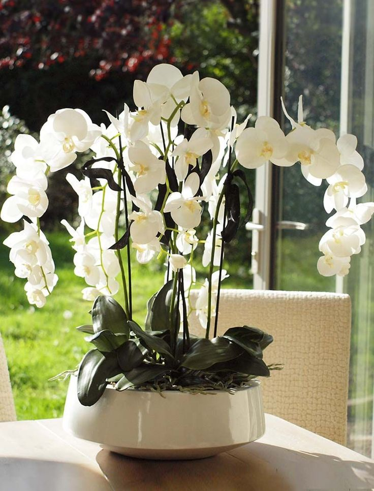 Orchids in a white lacquered bowl | RTfact | Artificial Silk Flowers
