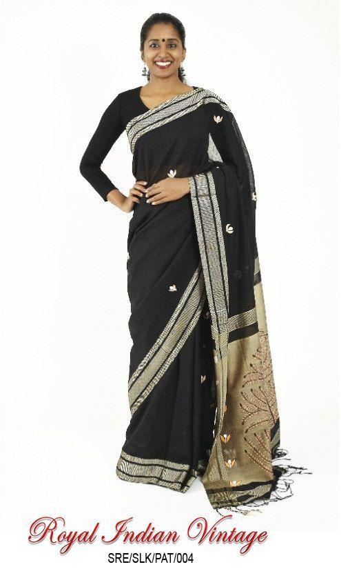 Indian Sari Handloom Black Sari South Indian Style by VintFlea