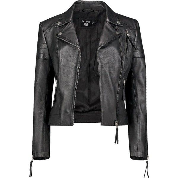 Boohoo Boutique Boutique Amelia Leather Biker Jacket ($123) ❤ liked on Polyvore featuring outerwear, jackets, motorcycle jackets, bomber jacket, motorcycle bomber jacket, puff jacket and puffer jacket