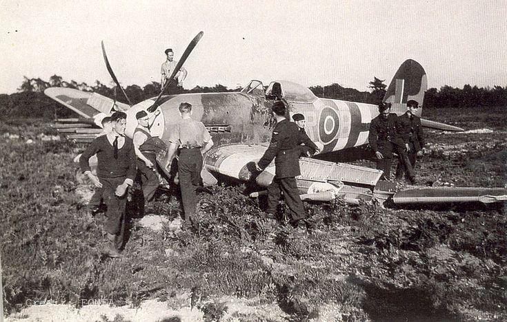 Hawker Typhoon IB MN625 MR-B 245 Sq; Flight Officer W. Smith. Crash landed by Flight Officer Smith on the 20th June 1944 at RAF Holmesley. Photo credit Norman Austin