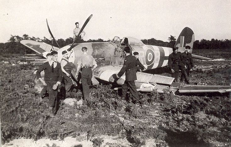 Hawker Typhoon IB MN625 MR-B 245 Sq; Flight Officer W. Smith. Crash landed by Flight Officer Smith on the 20th June 1944 at RAF Holmesley. Photo credit Norman Austin