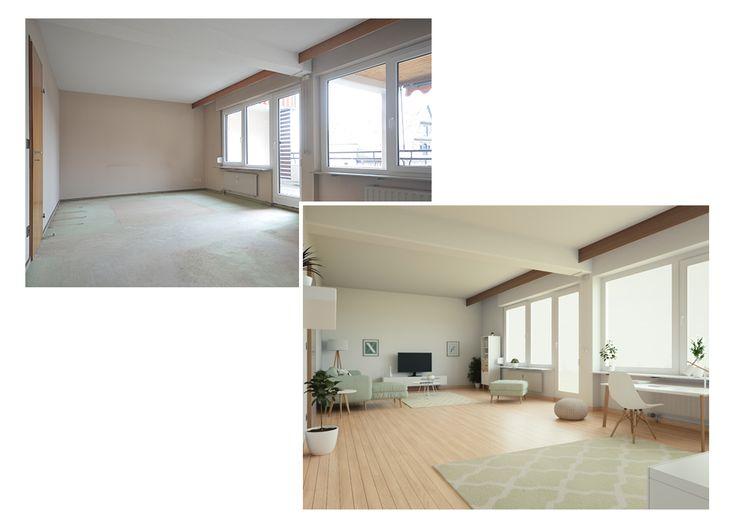 New Visualisierung eines Wohnzimmers mit Arbeitsplatz im skandinavischen Einrichtungsstil