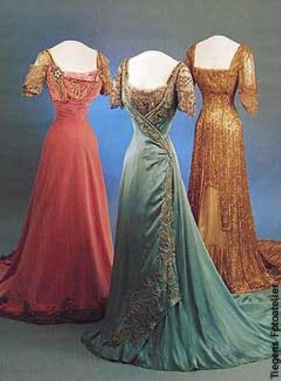 Three evening gowns of Queen Maud of Norway.  1907 - 1909.  She loved that Princess style cut.  Such a tiny waist.