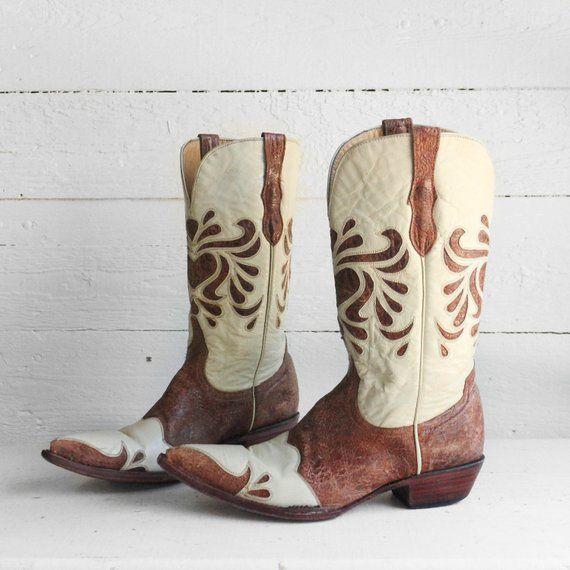 227e46dee8a 10 B | Ferrini Cream & Brown Inlay Wingtip Western Cowboy Boots | my ...