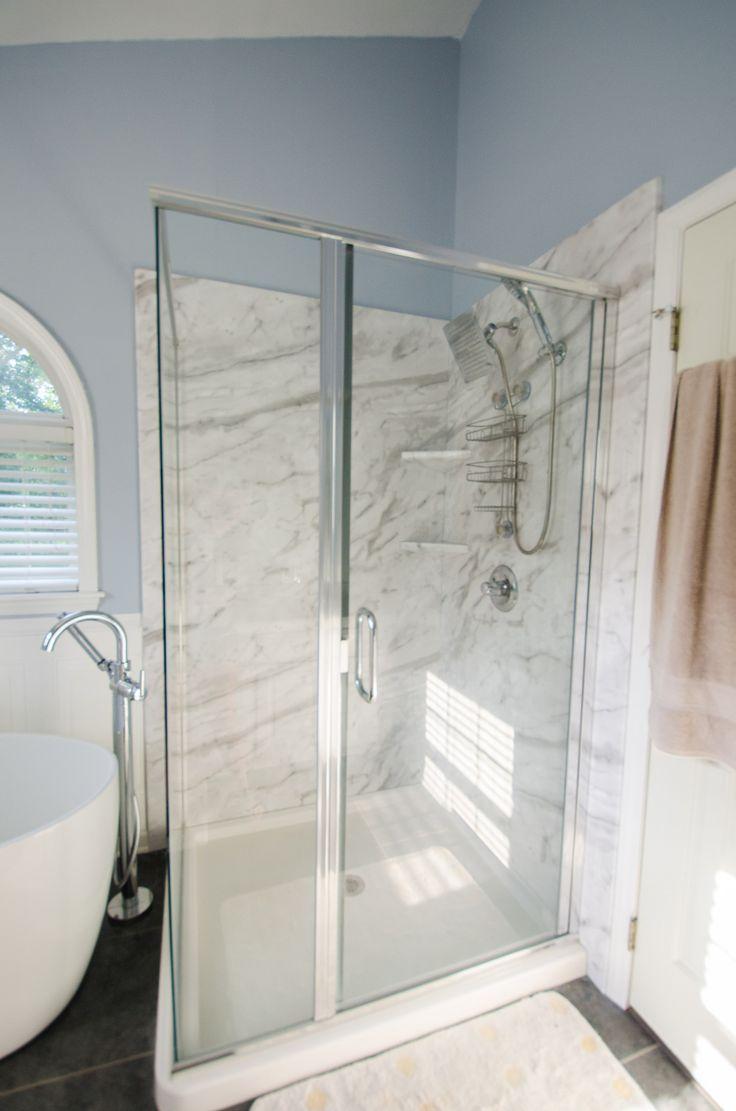 Image Gallery Website Bathroom Remodel Regal Bathroom Remodel All Glass Shower Oversized Tub Blue Bathroom
