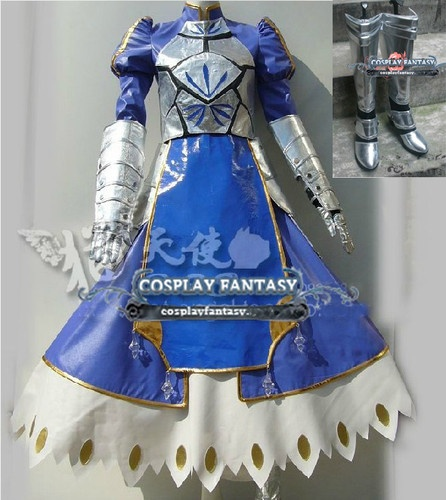 Fate Stay Night Saber Cosplay Costume Boots Blue Knight Outfit Altria Armour | eBay