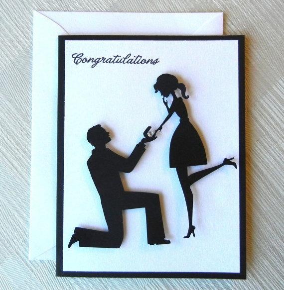 Engagement Card - Wedding Card - Bridal Shower Card - 3D - Handmade - Congratulations - Wedding Proposal - Black & White. $3.99, via Etsy.