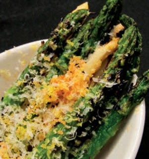 Grilled Asparagus with Cured Egg Yolk & Parmesan (keto modified no bread crumbs)