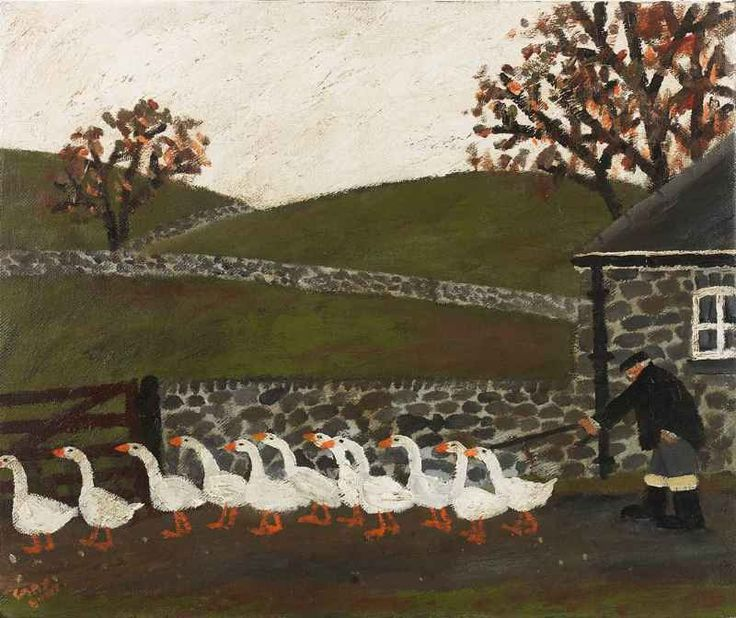 gary bunt(1957- ), a farmer and his geese. oil on canvas, 20 x 24 ins. portland gallery, london, uk http://www.portlandgallery.com/artist/Gary_Bunt/item/archive/28620/A_Farmer_And_His_Geese