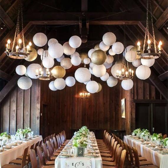 40 White Silver Gold Round Chinese Paper Lantern Set Diy Etsy Paper Lanterns Wedding White Paper Lanterns Paper Lantern Decor