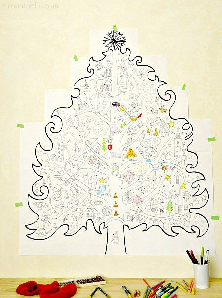 Giant Christmas Tree Coloring Page (you tile it together from 21 sheets of paper) - great group project for the cousins.