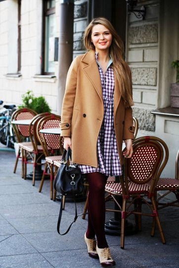 Winter Outfits - how to style tights: camel coat worn with checked dress + sheer tights