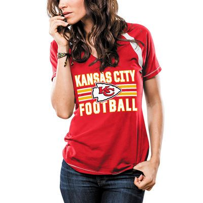 Women's Majestic Red Kansas City Chiefs Game Day V-Neck T-Shirt
