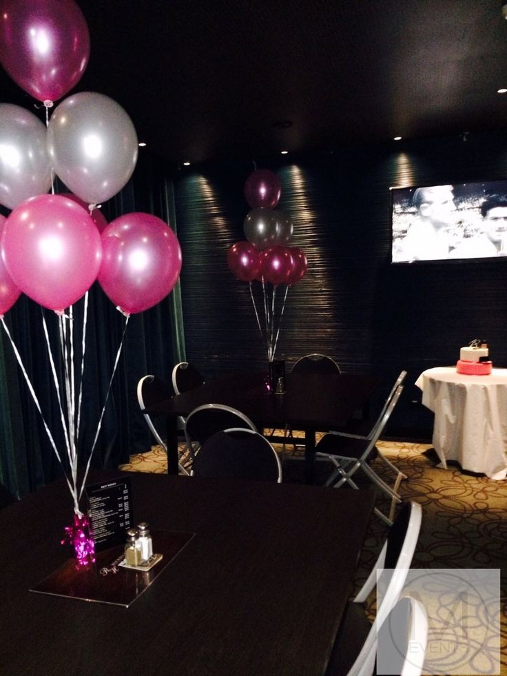 Pink and silver balloon centrepieces.For an intimate dinner for close friends and families.For more information for your next event contact info@meventssydne.com.au