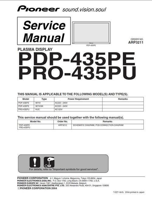 Pioneer PDP-435PE Kuro Plasma TV , Service Manual 100 per cent satisfaction guaranteed  100 DOWNLOAD