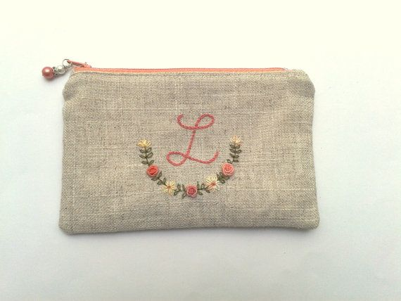 Custom monogrammed linen pouch, floral, hand embroidered, made to order, bridesmaid gift