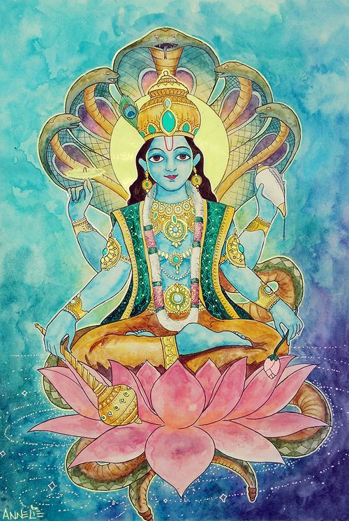 Vishnu. The preserver. Usually holding a conch shell, a lotus flower, discus and a mace. Seen as a loving and forgiving God who brings salvation.