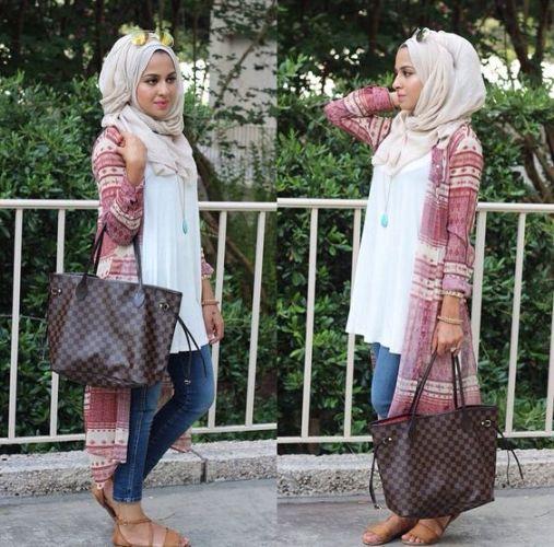 chiffon long cardigan hijab style