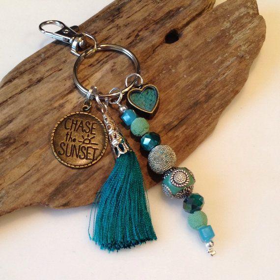 Boho Keychain, gypsy keychain, Beaded Keychain, Teal Keychain, Silk Tassel…