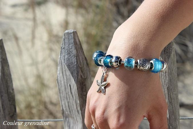 """Bracelet charms étoile de mer """"océan"""" bleu : Bracelet par couleur-grenadine33"""
