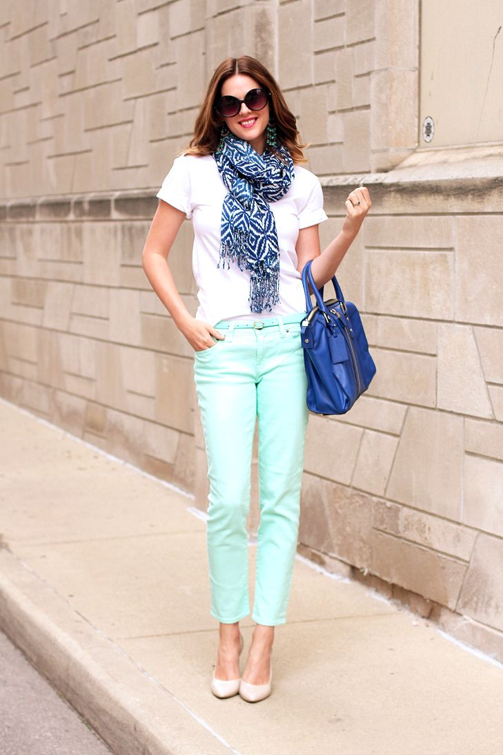 What I Wore: Cobalt and Mint, Jessica Quirk, whatiwore.tumblr.com, what to wear with mint skinny jeans