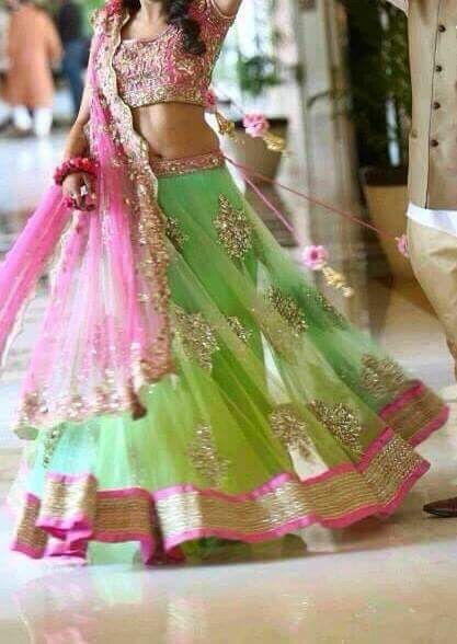 Light Green and Pink Net BollywoodLehenga Choli ,Veeshack.com | Fashion for the World