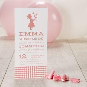 Zet de toon met dit elegant kaartje voor de eerste communie van je dochtertje.Enkele kaartTypografie