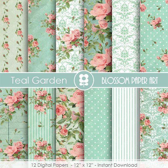 Teal Digital Paper, Vintage Roses Shabby Chic Digital Paper Pack, Wedding, Scrapbooking, Pink Vintage Roses - INSTANT DOWNLOAD  - 1877