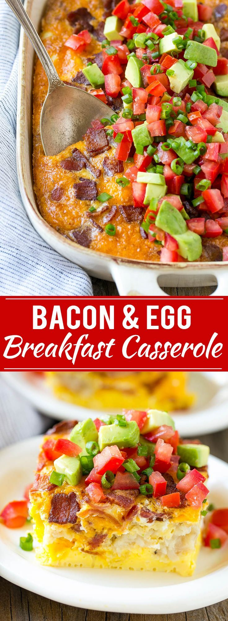 This breakfast casserole with bacon recipe is loaded with eggs, cheese and bacon, then finished off with an avocado and tomato topping. The perfect hearty breakfast for any occasion! #greengiantswapins AD @GreenGiant