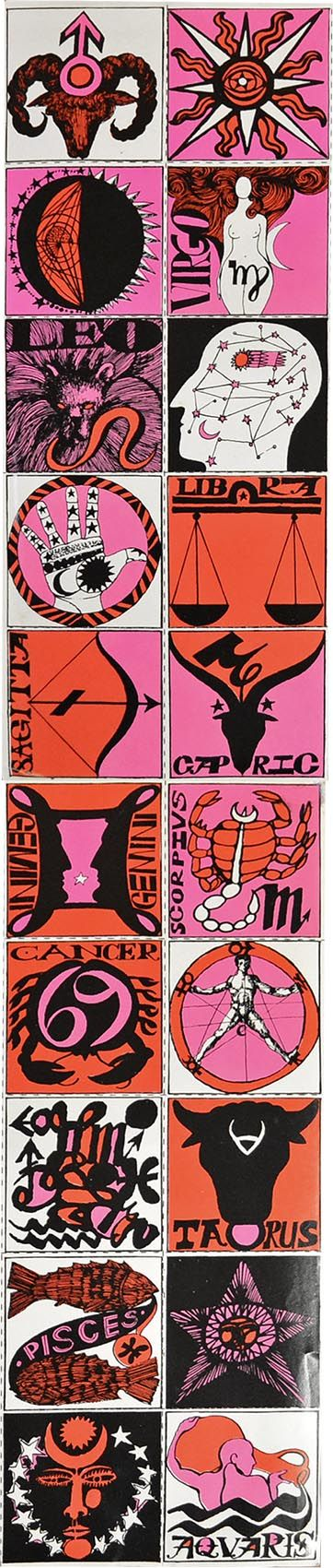 1960's illustrated stickers of the Zodiac