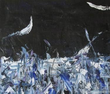 "Saatchi Art Artist Maryse Lapointe; Painting, ""Winter Night 6 / Nuit d'Hiver 6"" #art,  #art, #oiloncanvas, #abstract, #abstractexpressionism, #riopelle, #georgesmathieu, #artquebecois, #music, #oilpainting, #artistequébécoise, #abstrait, #expressionnismeabstrait, #maryselapointe, #saisons, #seasons, #dekooning, #borduas, #automatisme, #winter,  #night, #nuit, #hiver, #maryselapointe.net, http://maryselapointe.net/"