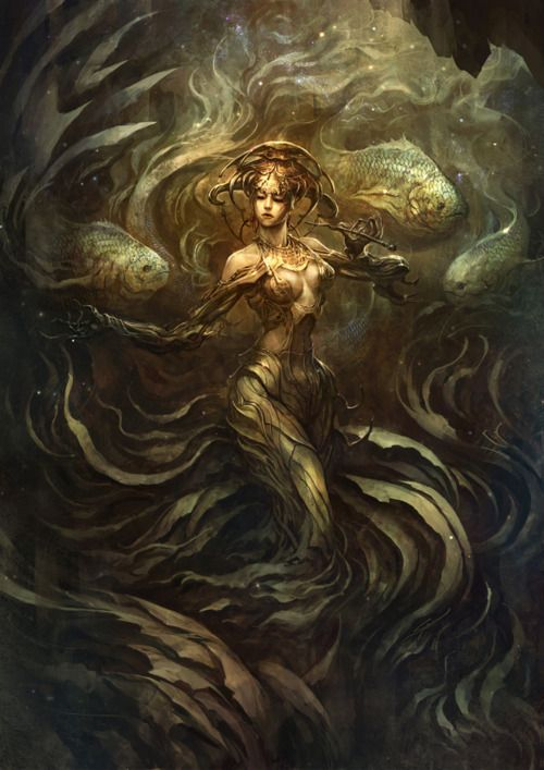 Ceto, goddess of the dangers of the ocean and of sea monsters.  The flower of the rivers by SARYTH (deviantART)- Pinned by The Mystic's Emporium on Etsy