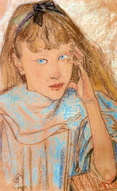 Stanislaw Wyspianski (1869 – 1907, Polish)Girl With Blue Eyes