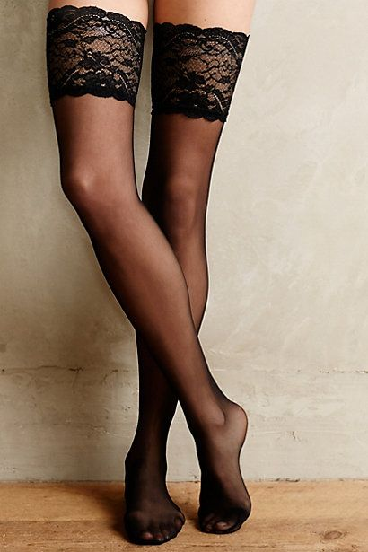 Fogal Caresse Thigh High Stockings. A nice, wide welt like this helps thigh highs stay up.