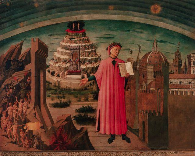 Dante Illuminating Florence with his Poem, c.1465, by Domenico di Michelino; Dante Alighieri (with symbolic laudatory garland of laurels) is shown holding his work The Divine Comedy, with Florence to the right and his inferno to the left. (Photograph: Corbis, via The Guardian)