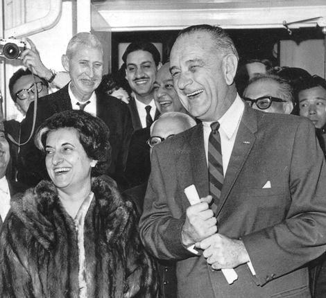 LBJ with India PM Indira Gandhi.